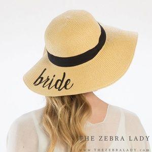 Bride Embroidery Straw Floppy Sun Hat